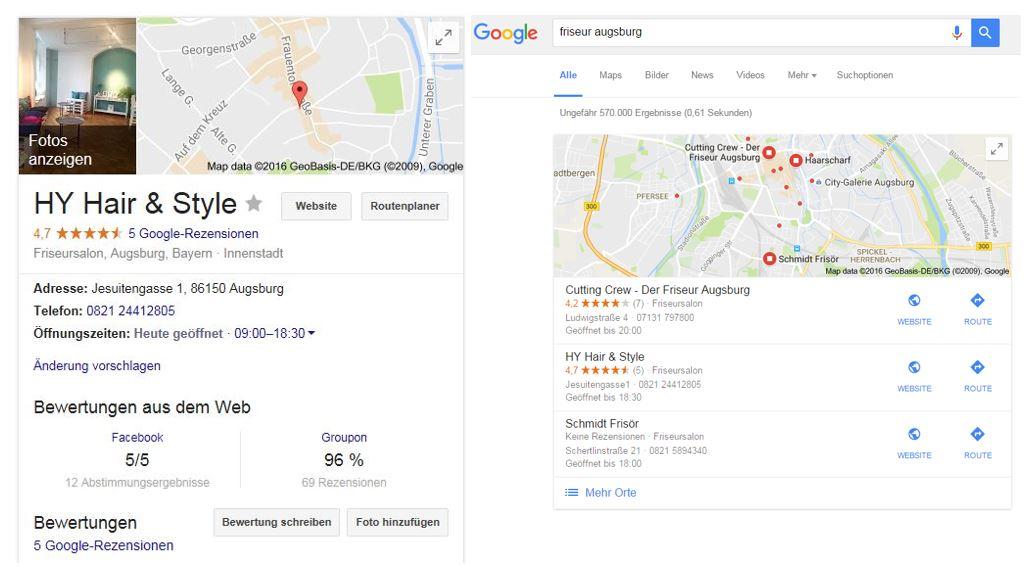 Friseursalon Google My Business